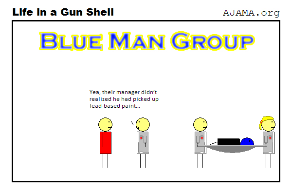 The Blue Man Group needs to read the labels
